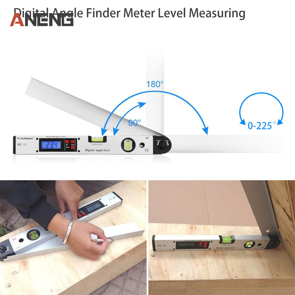 0-225 degree Electronic Protractor Digital Angle Finder Meter Level Measuring Gauge 400mm 16inch Digital Protractor 225 degree digital protractor multi angle ruler angle level meter gauge aluminum alloy electronic inclinometer level