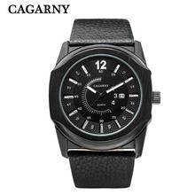 CAGARNY nueva marca de negocio de los hombres casual watch calendario movimiento automático moda reloj de cuarzo Relogio masculino cinturón negro