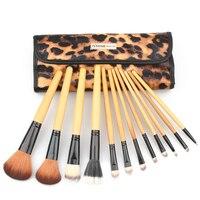 ISMINE 12 STÜCKE Make-Up Pinsel Set Strom Foundation Cream Erröten Eyeshdow Sexy Leopardenmuster Tasche Schönheit Pinsel Kosmetische Tool-kits