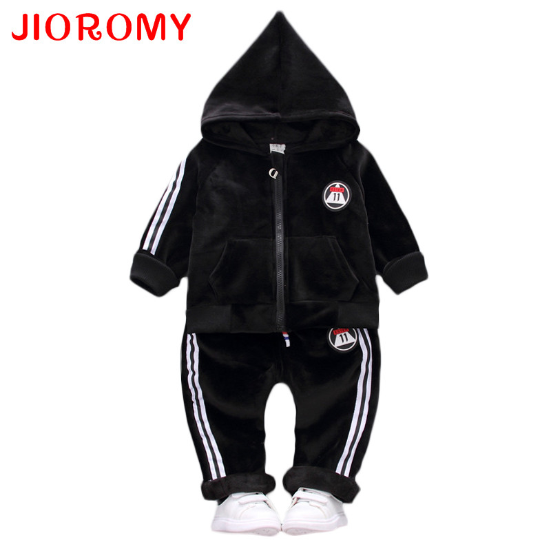 JIOROMY Baby Boys Clothes Set 2017 Winter Hooded Long Sleeve Zipper Top Jacket + Sports Pants 2pcs Casual Kids Clothing Suit 2017 new boys clothing set camouflage 3 9t boy sports suits kids clothes suit cotton boys tracksuit teenage costume long sleeve