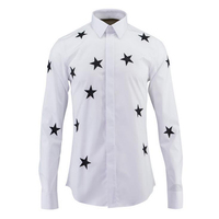 2017 Autumn 100 Cotton Men Shirt High Quality Stars Print Slim Fit Casual Shirts Men S