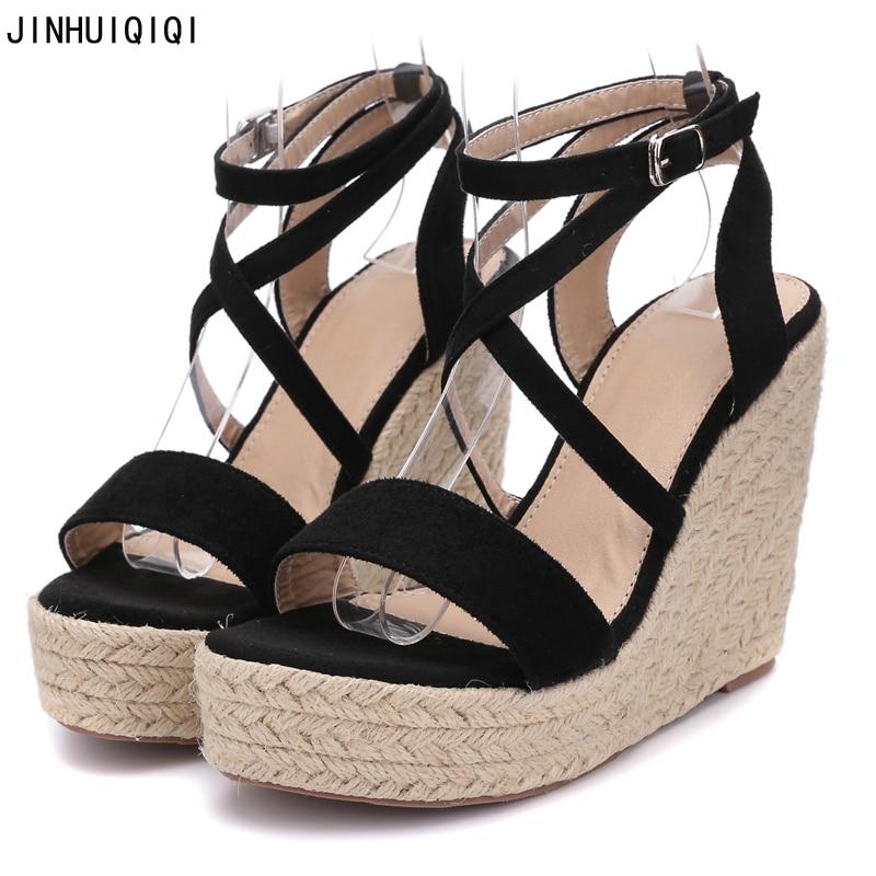 Dames Sandales Mode Croix Bretelles Plate-Forme Wedge Haut Talon Sandales Femmes Sandales 2018 Boho Chaussures D'été Femmes Talons