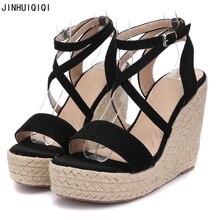 Ladies Sandals Fashion Cross Strappy Wedge Platform High Heel Sandals Women Sandals 2018 Boho Shoes Summer Women Heels недорого