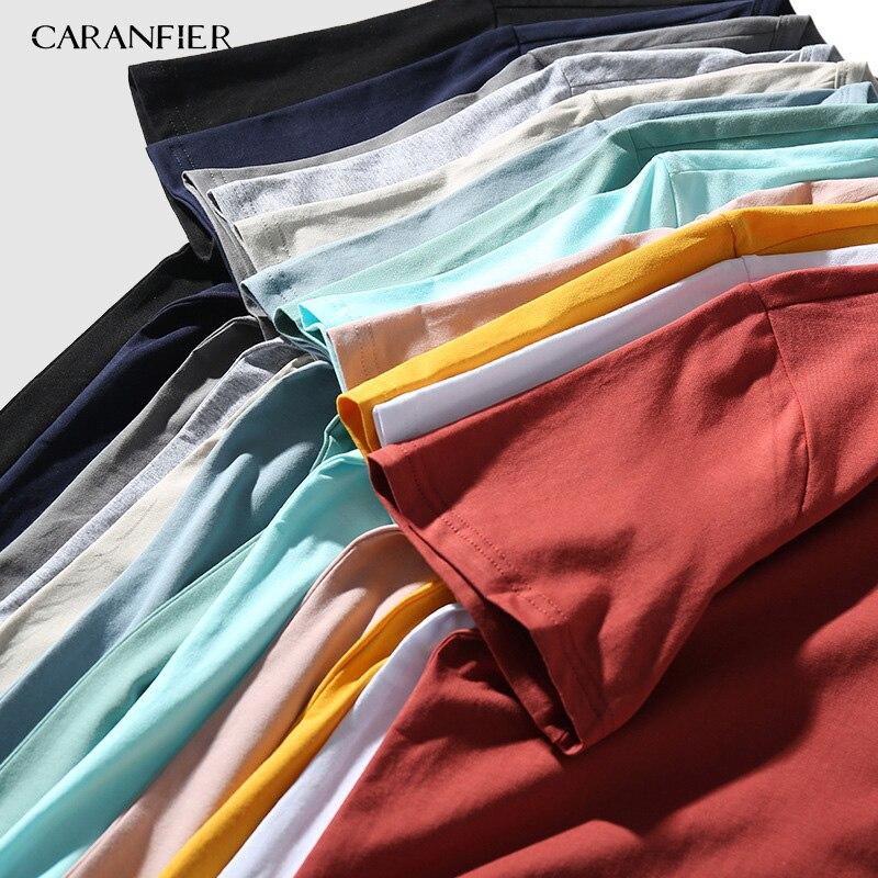 Erkek Kıyafeti'ten Tişörtler'de CARANFIER 12 PCS tShirt 2019 Yeni Gelmesi Yaz T Gömlek Erkekler Düz Renk Pamuk 12 Renk Gevşek Kısa Kollu Tişört marka Giyim'da  Grup 1