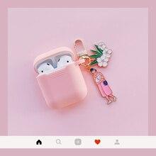 Đáng yêu Bé Gái Mèo Tai Nghe Chụp Tai Dành Cho Rung Bluetooth Cho Apple Không vỏ Bảo Vệ Earhphone có móc khóa
