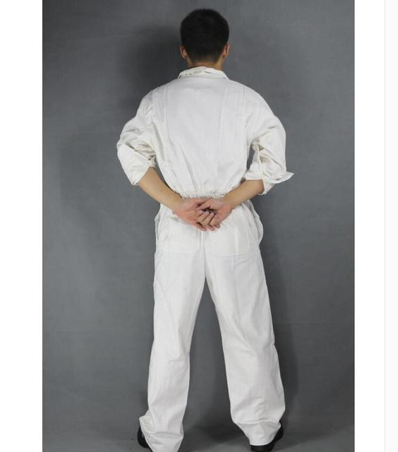 Men's Cotton Jumpsuits One-piece Tide Men's Tooling White Work Overalls Long Sleeve Working Coveralls Workwear Repairman Xs-3xl 3