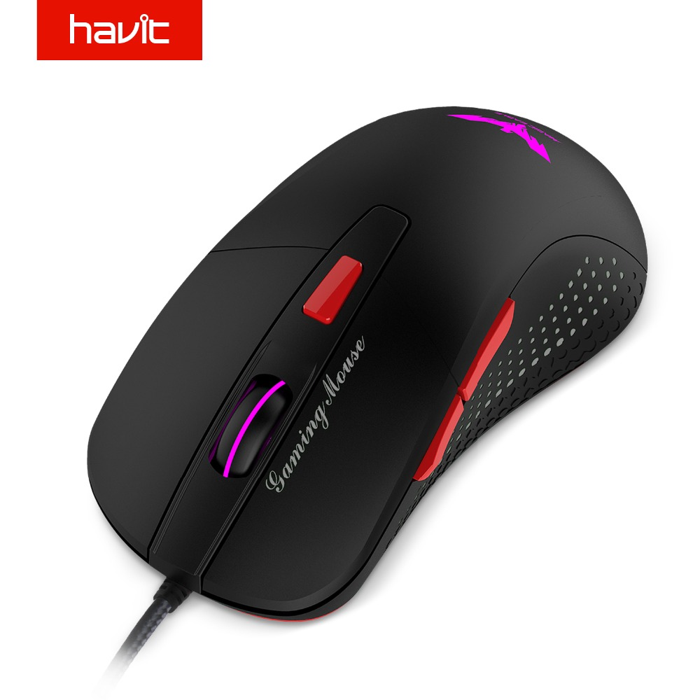 HAVIT Wired Gaming Mouse USB Optical LED Lights Mouse Gamer 2800 DPI with 6 Button For PC Laptop Desktop Computer Game HV-MS745 gaming usb wired mouse zelotes c 12 programmable buttons led optical usb gaming mouse mice 4000 dpi souris sans fil