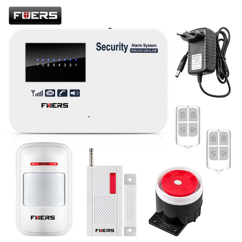 fuers russian english wifi gsm home alarm system security phone apps control russian alarm with ip camera wifi gsm alarm system FUERS IOS Android APP phone dial remote control GSM Alarm System Home Security Russian English Voice Prompt Security Alarm
