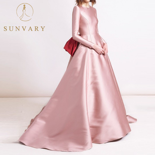 Sunvary High-end Sparkle Satin Long Sleeve Evening Dress Floor-length Long Sleeve Party Gown Back Bowknot Formal Party Dress