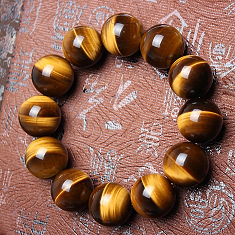 14MM Natural Yellow Tigereye Bracelet Men And Women The Tigers Eye Shi Man Recruit Wealth Woman Vanves Petrified Wood Bracelet