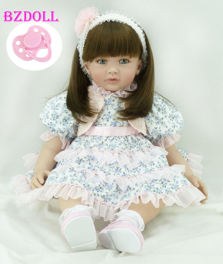 60cm Silicone Vinyl Reborn Toddler Baby Doll Toy 24inch Princess Girl Toy Lifelike Fashionable Child Birthday