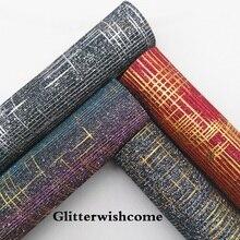 Glitterwishcome 21X29 см A4 размеры синтетическая кожа, цвет изменение сетки блестящая кожаная ткань винил для Луки, GM056A