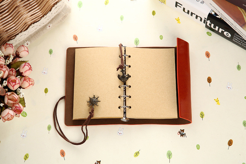 Vintage Notebook Leather Cover Journal Diary Blank String Nautical Traveler book office school supplies ON029 21