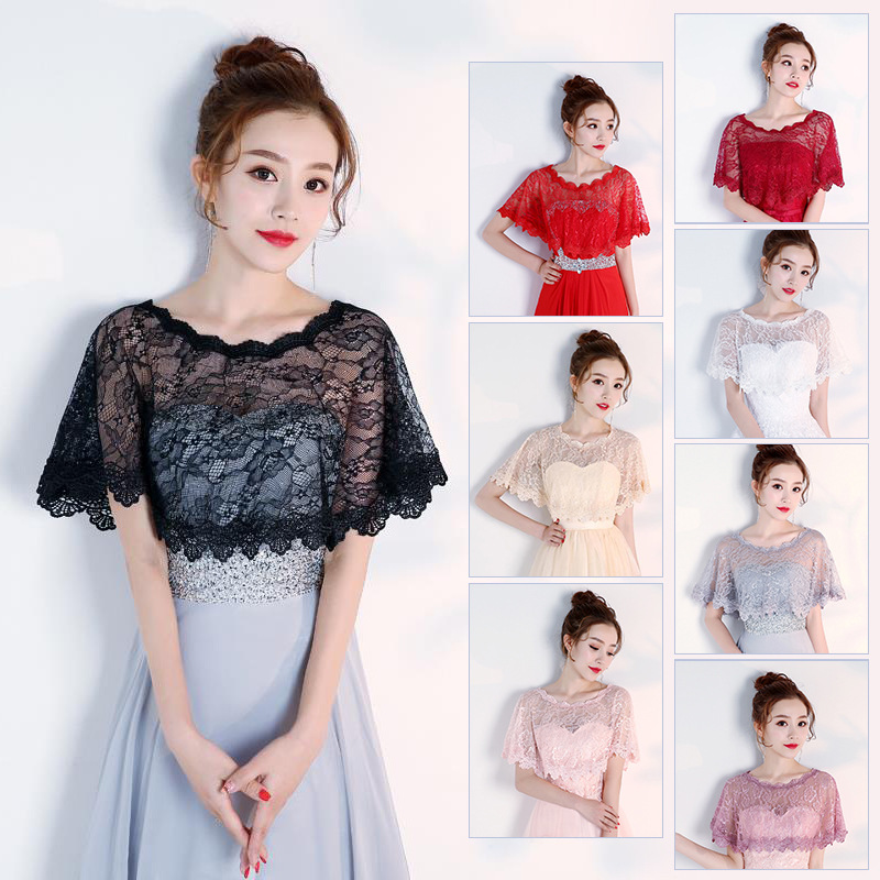 High Quallity Lace Wedding Jacket Wrap Elegant Short Bridal Wraps Shawl Summer Women Evening Bolero New Bride Capes Mariage