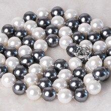 Горячая# >>> 10- 11 мм австралийский южного моря черный белый жемчужное ожерелье 17 дюймов