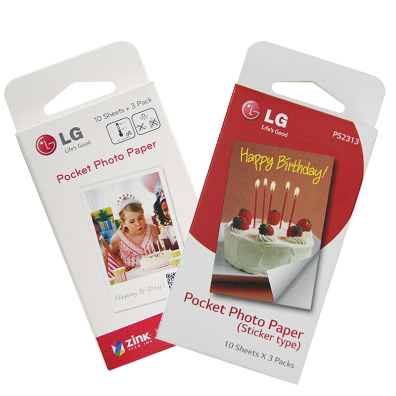 2Pcs 30 Sheets/Box Zink Photo Paper 5*7.6cm (2x3 inch) for LG PD221 PD233 PD239 PD251 PD261 PD238 PD269 Portable Photo Printer-in Printer Ribbons from Computer & Office    1
