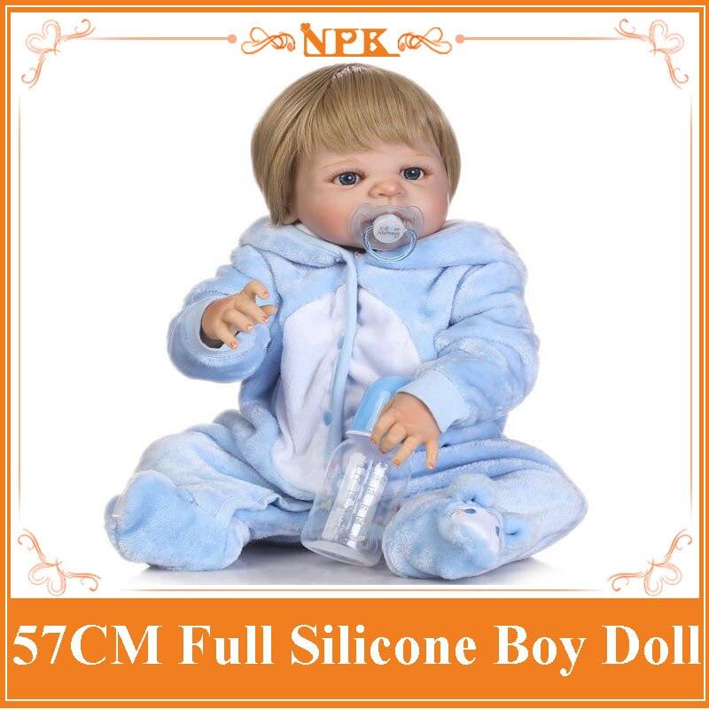 New Arrival 57CM NPK Full Silicone Reborn Doll Lovely Baby Boy In Soft Cute Blue Plush