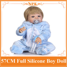 New Arrival 57CM NPK Full Silicone Reborn Doll Lovely Baby Boy In Soft Cute Blue Plush Clothes Baby Kids Girls Interactive Toys