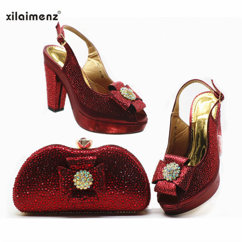 2019 New Style Nigerian Ladies Matching Shoe and Bag Material with Pu Italian Shoes and Bags