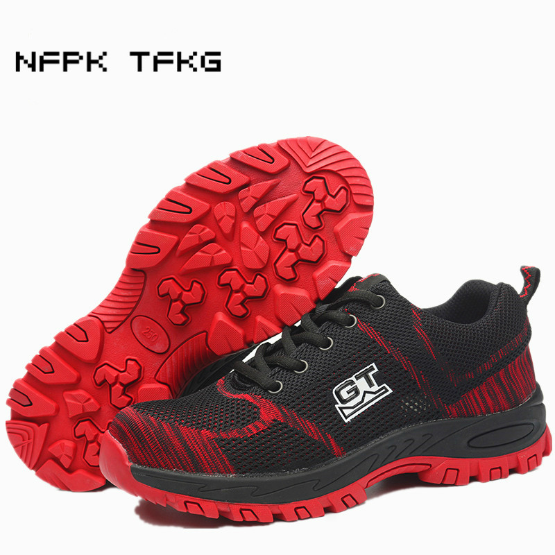 high quality men leisure breathable steel toe covers working safety summer shoes non-slip site factory dress anti-puncture boots все цены