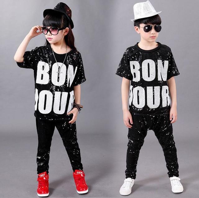 Niños Sequin Hip Hop ropa Jazz danza traje para niñas niños Casual camiseta  Tops pantalones salón e3846f6354f