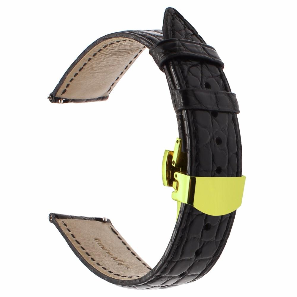 Bracelet de montre en cuir véritable Alligator pour Samsung Gear S3 Bracelet de montre frontière classique Bracelet de fermeture rapide Bracelet fermoir papillon - 3