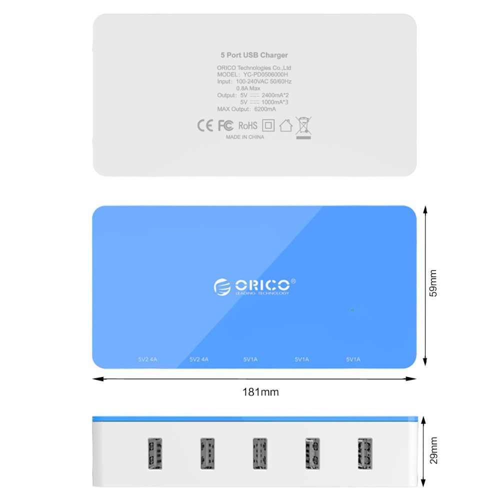 Orico 5 Port Desktop Charger Ponsel Travel Charger Usb Cepat Smart Charger untuk Smartphone Samsung Iphone Tablet