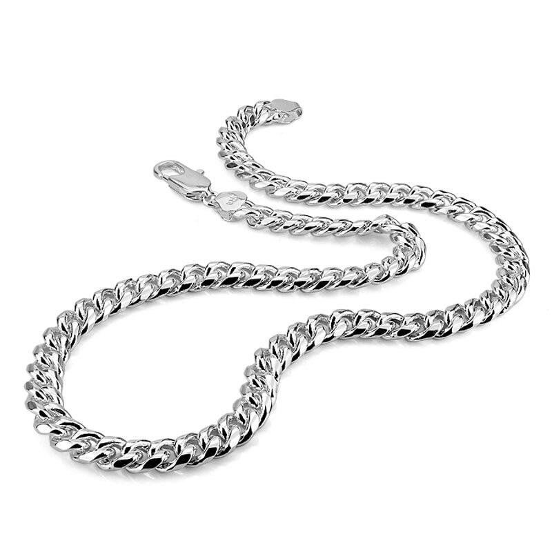 Настоящее серебро 100% пробы мужское ожерелье хип-хоп панк стиль мм 10 мм 26in цепь ожерелье Мода Мужчины/Мальчик 925 серебряные ювелирные изделия...