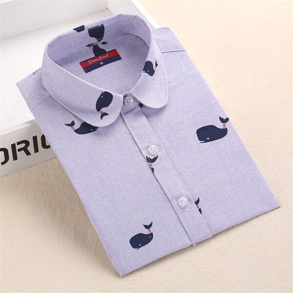 Harajuku druku kobiety bluzki bawełniane koszule z długim rękawem damskie bluzki collar floral clothing kobiet top koszula blusas duże rozmiary 5xl 9