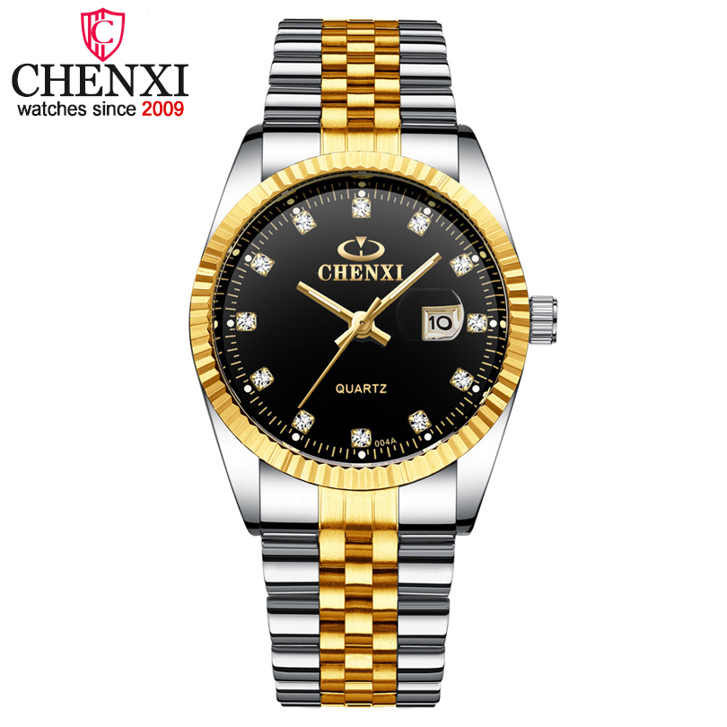 Chenxi Luxury Brand Men Business Watch Men's Stainless Steel Date Hour Gold Wristwatch for Male Quartz Clock Waterproof Watches все цены