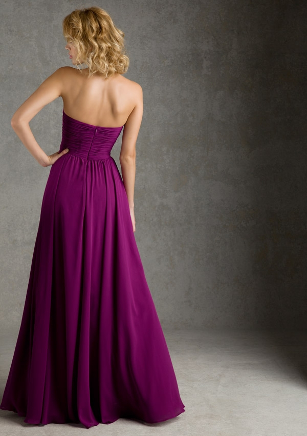 dffb5d02c71 2015 New Plum Color Sweetheart Pleats Floor Length Chiffon Bridesmaid  Dresses Sexy Backless Girls Long Formal Dress Gowns Gown