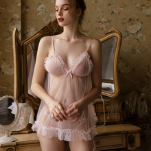 French female fairy pink perspective skirt bride ruffle sexy comfortable soft nightdress set sleepwear allover flamingo print ruffle cuff nightdress