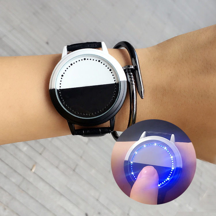 Trendy Creative Gifts LED Touch Screen Students Lovers Watches Leather Smart Black and White Stitching Men