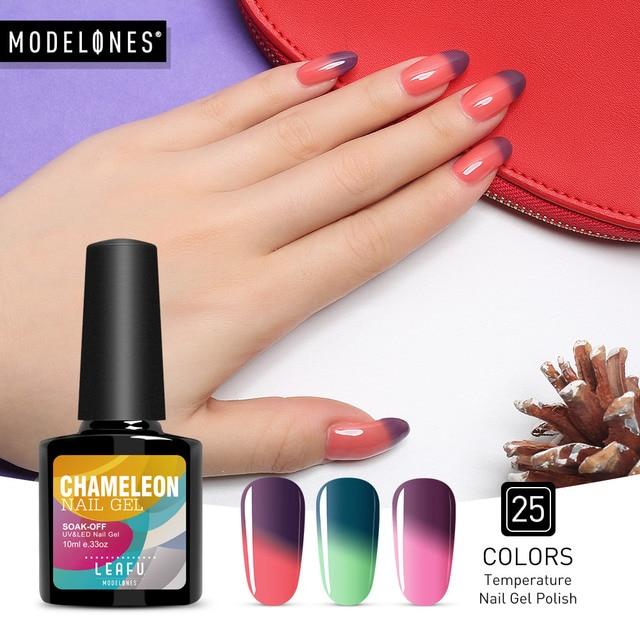 Modelones 10ML Temperature Change Color Thermal Gel Polish UV Led Nail Gel Polish Soak off UV Gel Nail Polish Chameleon Varnish