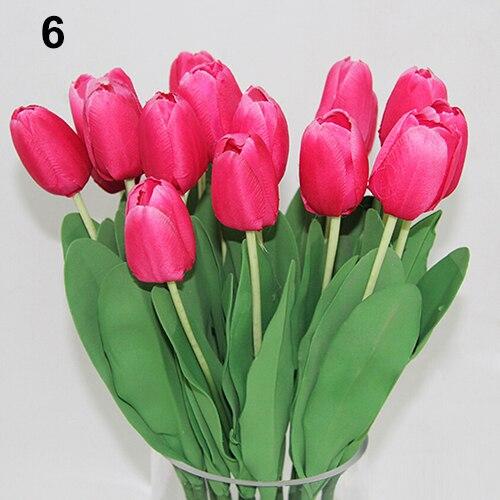 Pretty Latex Real Touch Artificial Silk Tulip Flower Wedding Bouquet Home Decor 8BPNin
