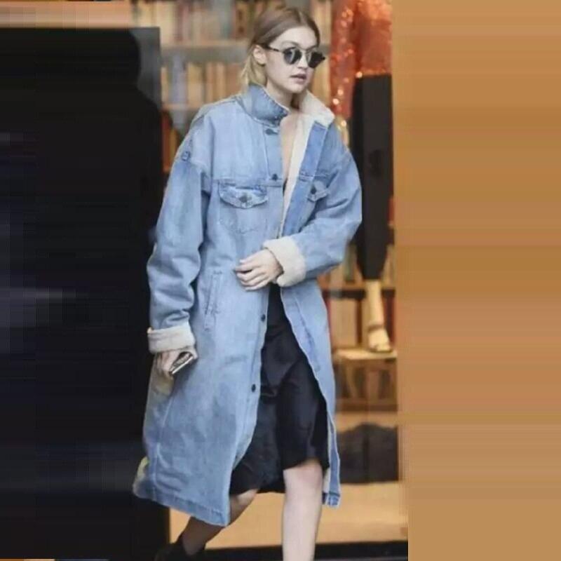 New 2019 Celebrity Women Basic Coat Winter Denim Jacket Warm Wool lining For Women Jeans Jacket Female Denim Coat chaqueta mujer-in Jackets from Women's Clothing    1