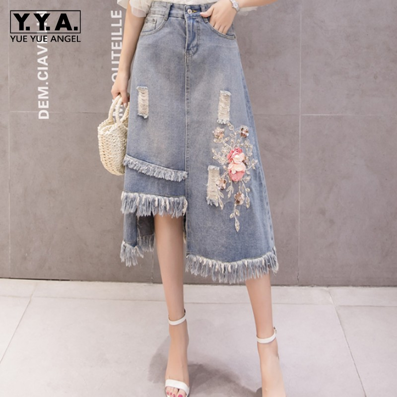 New Fashion Women Tassels Asymmetrical Denim Skirt Casual Hole Ripped Flower Embroidery High Waist Skirt Mid Calf Long Skirts