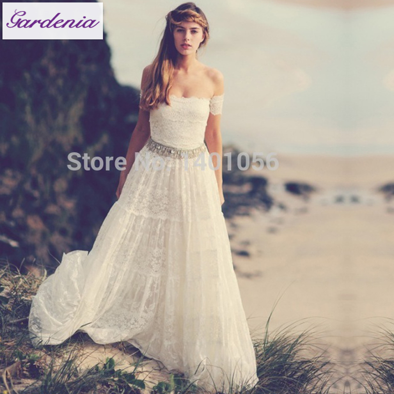 Graces Loves Lace Beach Wedding Gowns Puffy Casual Bridal Off Shoulder Dress Summer Style Vestido De In Dresses From