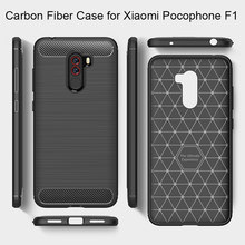 Carbon Fiber Case for Xiaomi Pocophone F1 Brushed Silicone Coque Case on Xiaomi Mi A2 Lite Soft TPU Case for Xiaomi Mi A1 Mi A2(China)