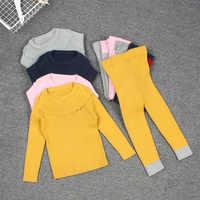 Enfants tricot côtelé 2pc ensemble automne bébé fille vêtements d'hiver chandails costumes pantalons chapeaux chemise de fond vêtements pour enfants 1-6 ans