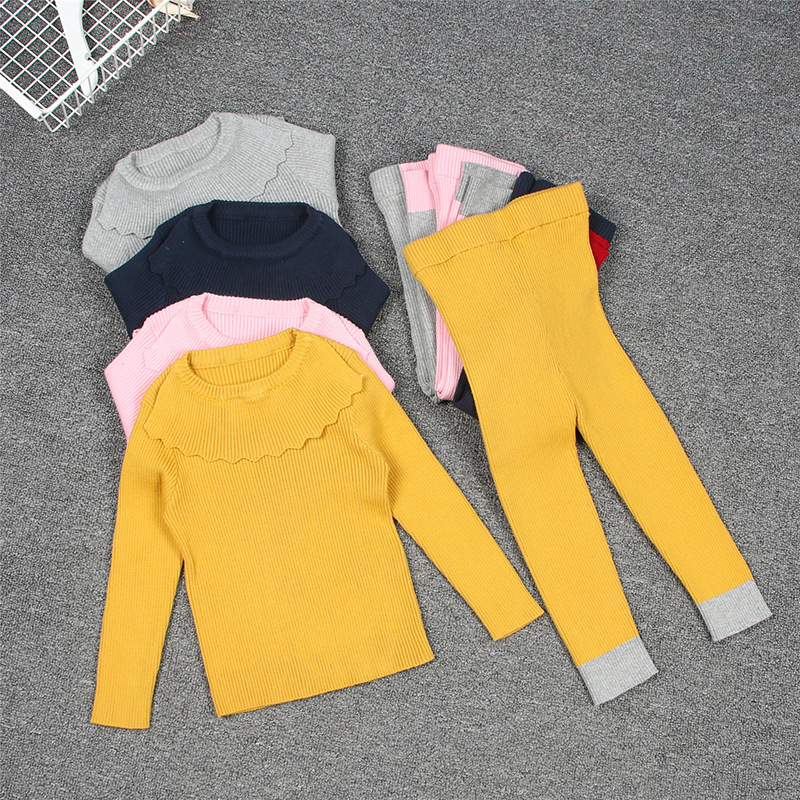 Kids Knit Ribbed 2pc Set Autumn Baby Girl Winter Clothes Sweaters Suits Pants Hats Bottoming Shirt Children's Clothing 1-6 Years knit ribbed racerback tank