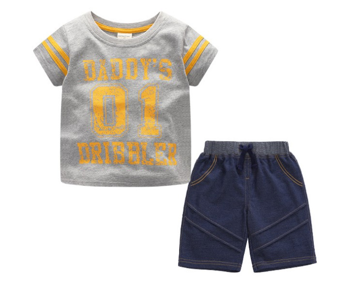 2018 Summer kids boy tee t shirt + shorts baby toddler boy 2 3 4 summer suit sets clothes short sleeve letter t shirt suit ssets