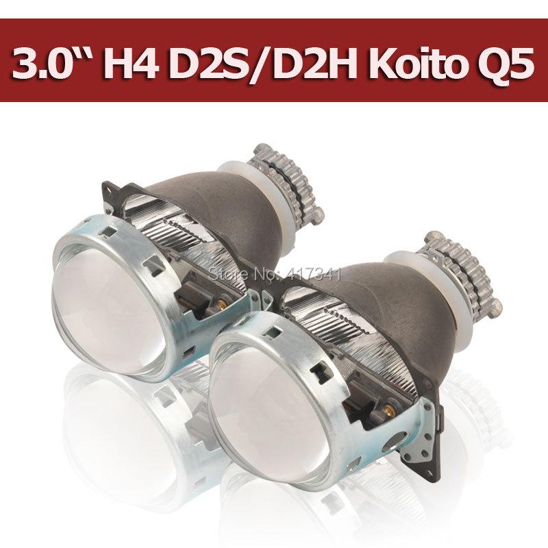 Prix pour Objectif du projecteur 3 Pouces Q5 Koito D2H D2S Bi-xenon HID bi-xénon Projecteur Lentille LHD/RHD rapide Installer pour H4 phare De Voiture