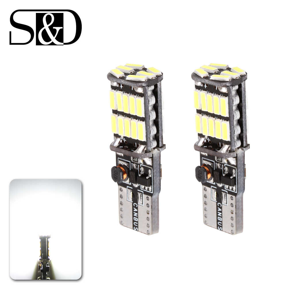 2pcs T10 W5W 194 White CANBUS OBC NO Error Free LED Light 501 dash Car bulb Signal interior Auto Lamp Source parking 4014 SMD