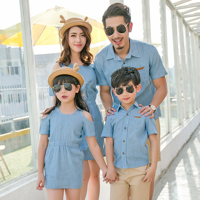 08b82d7120a Jean Family Matching Outfits Summer Mom and Daughter Jeans Dresses Father  Son denim shirt family look denim jeans shirts dress