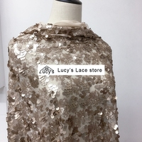1 Yard Coffee color sequins fabric tulle lace sequined material sewing for women clothes 2018 NEW
