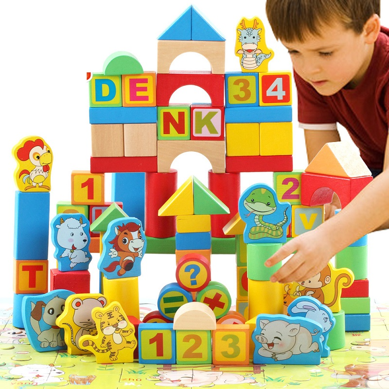 ФОТО 148pcs Wood Block Children Zodiac Digital Letter Early Learning Education Toys Baby Building Wooden Kids Toys