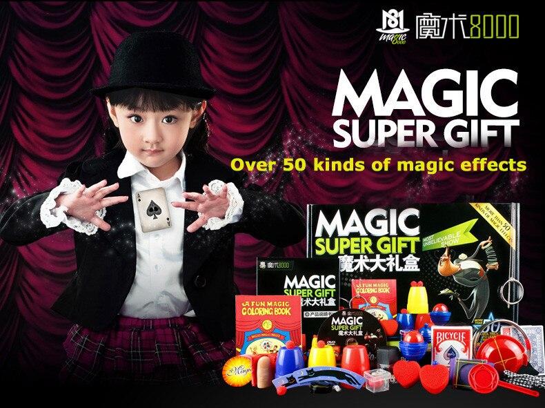 50 sortes de jeu de magie avec DVD enseignement des tours de magie professionnels scène gros plan Prop magique Gimick cartes enfant Puzzle jouet
