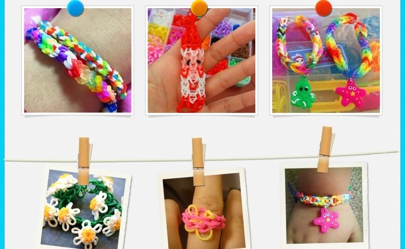 loom rubber bands bracelet for kids or hair rainbow rubber loom bands make woven bracelet DIY toys Christmas 2019 Gift