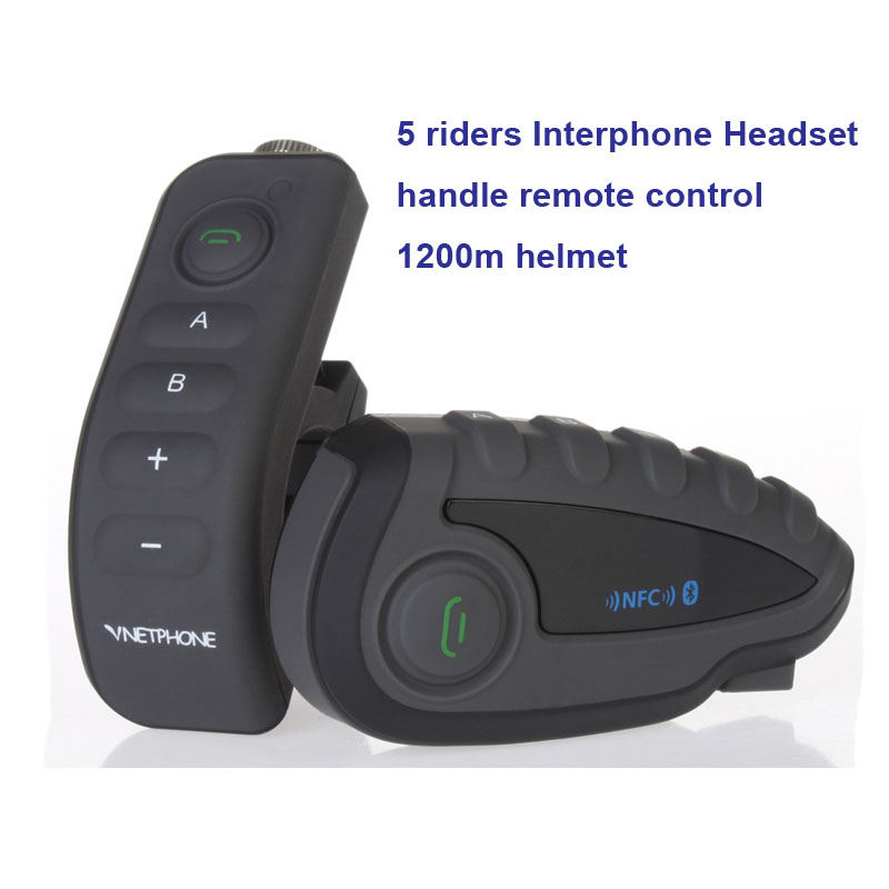 New 1200M BT Bluetooth Motorcycle Helmet Intercom for 5 Riders Interphone Headset NFC/Telecontrol Free Shipping!! vnetphone 5 riders capacete cascos 1200m bt bluetooth motorcycle handlebar helmet intercom interphone headset nfc telecontrol